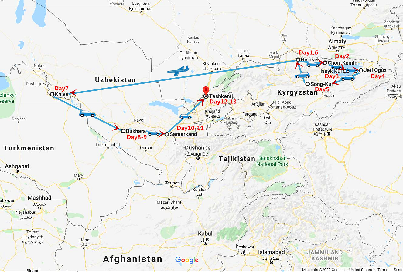 13 Days Kyrgyzstan and Uzbekistan Tour Travel Map