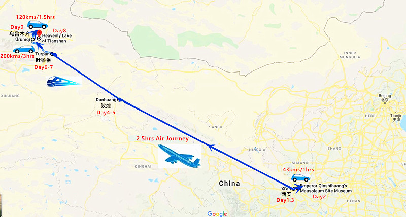 9 Days Luxury Silk Road Tour from Xi'an to Urumqi Travel Map