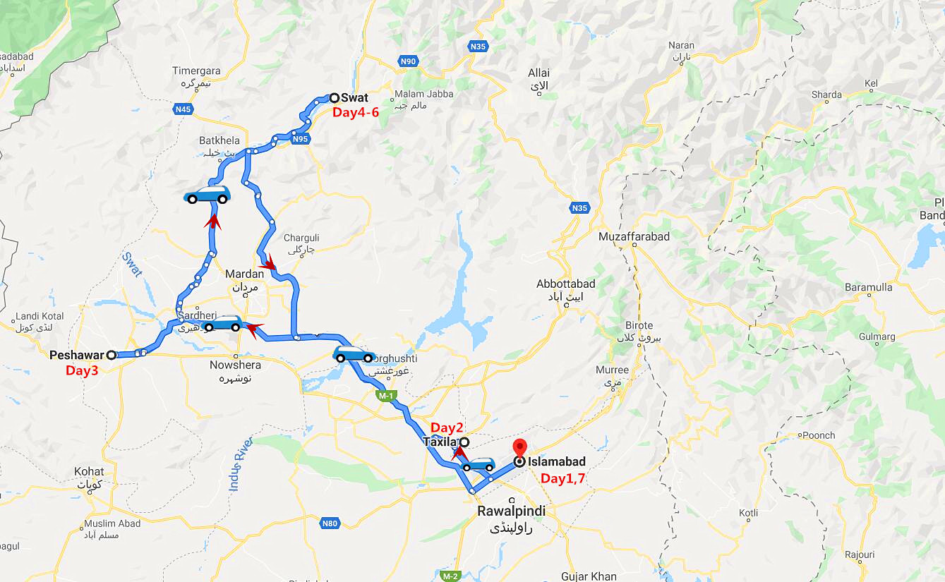 7 Days Gandhara Heritage Tour Travel Map