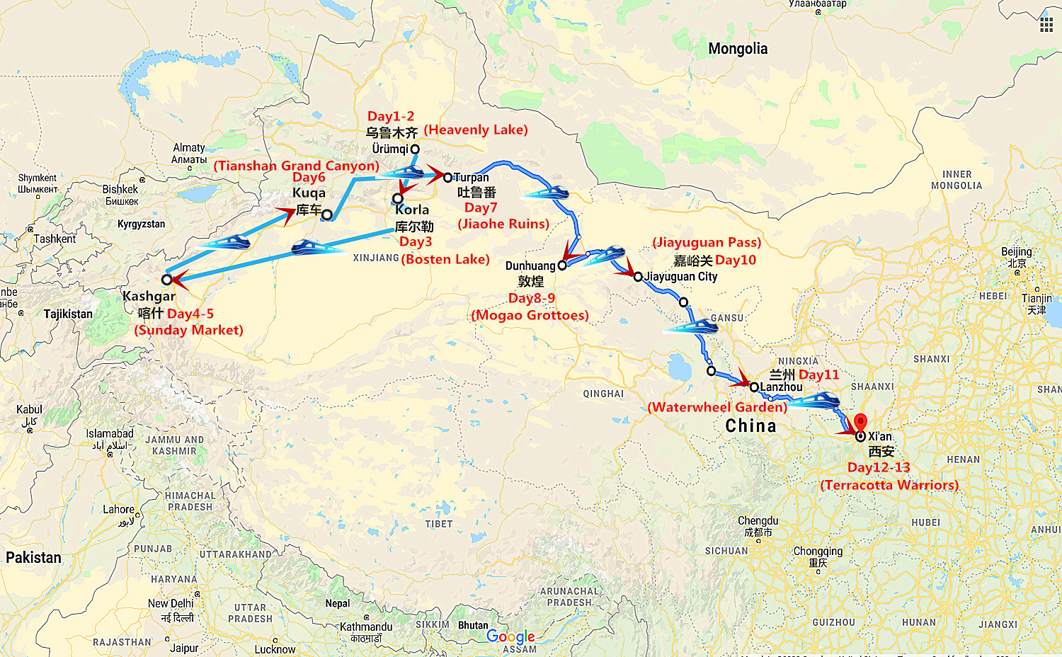 13 Days Silk Road Oriental Express from Urumqi to Xi'an Travel Map
