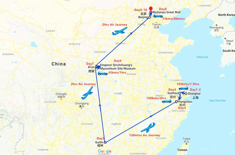 10 Days Shanghai - Suzhou - Hangzhou and Guilin Travel Map