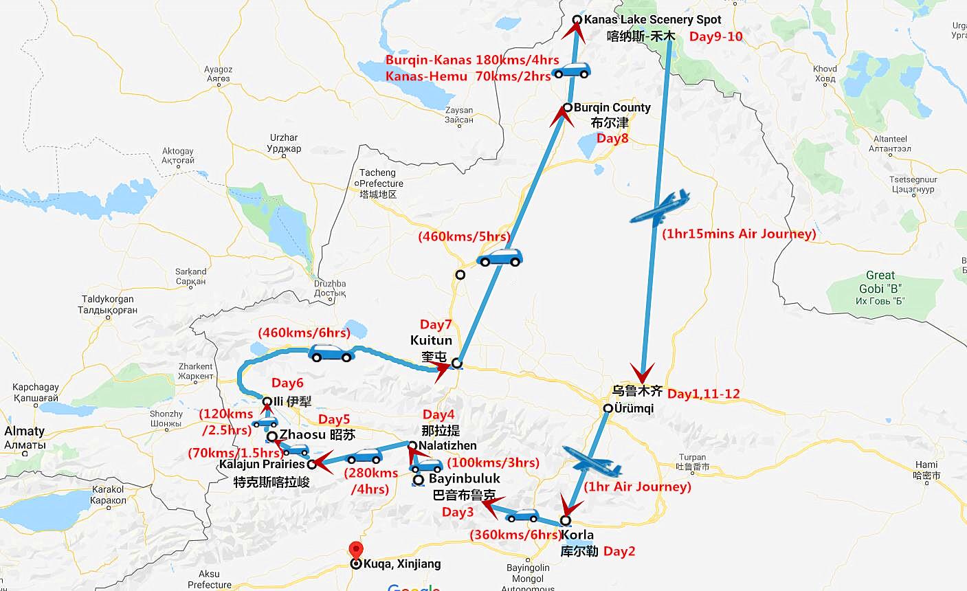 12 Days Bayinbuluk Grassland, Kanas Lake & Turpan Culture adventure Travel Map