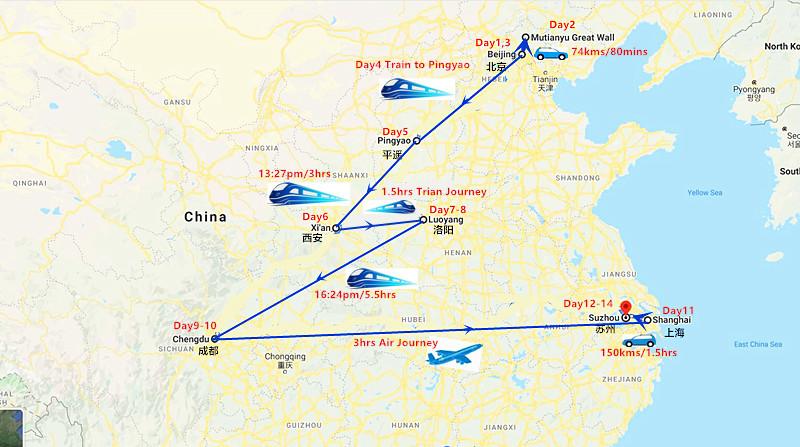 14 Days China Tour: Beijing, Pingyao, Xi'an, Luoyang, Chengdu & Shanghai Travel Map