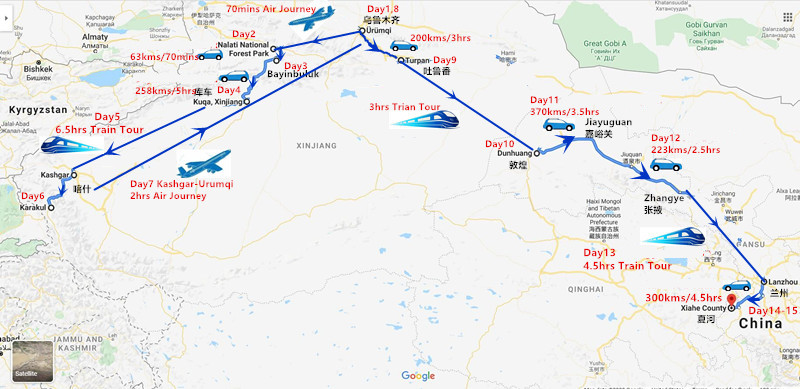 15 Days West China Adventure Tour to Xinjiang and Gansu Travel Map