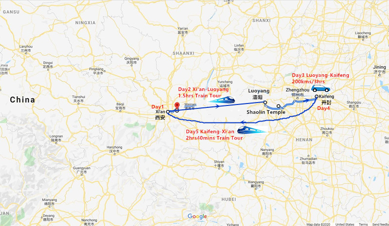 9 Days Xi'an and Luoyang Tour Travel Map