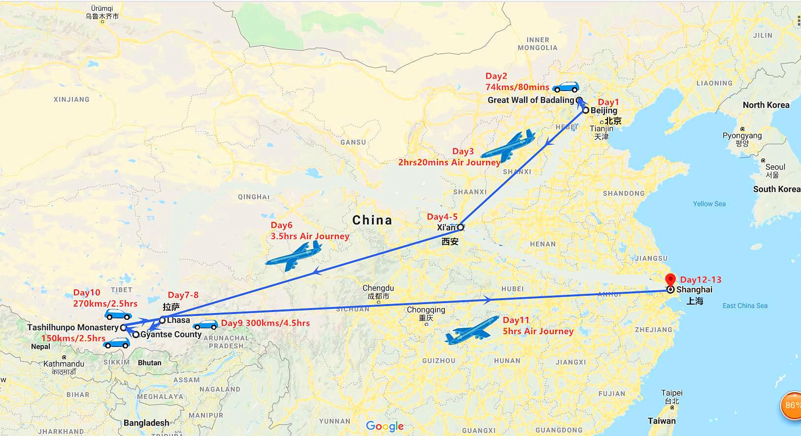 13 Days Beijing, Xi'an, Lhasa and Shanghai Tour Travel Map