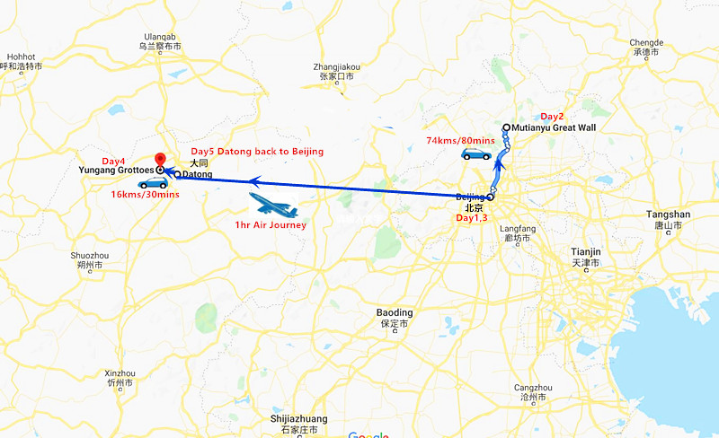 5 Days Datong Tour from Beijing Travel Map