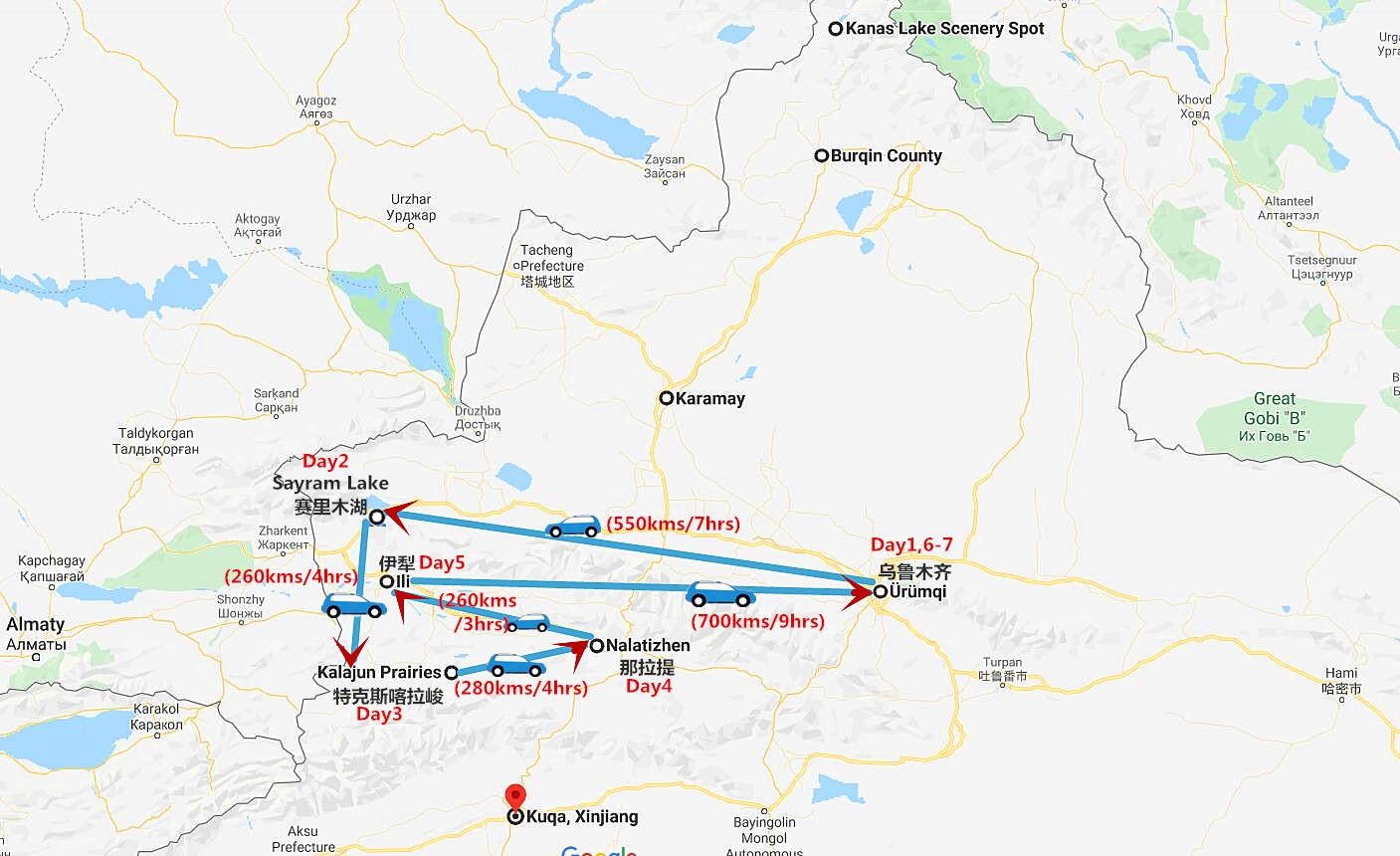 7 Days Northern Xinjiang Tour Travel Map