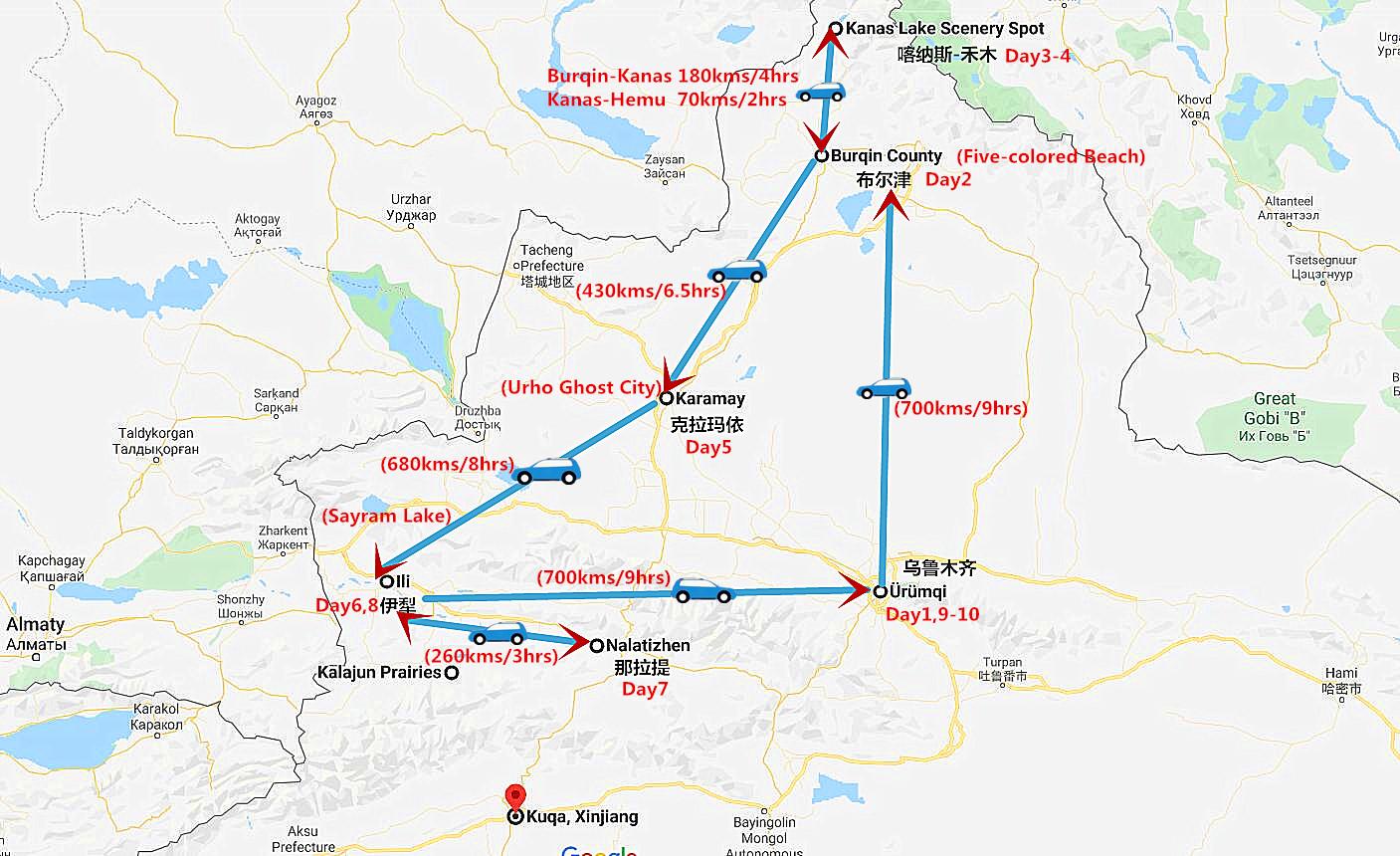 10 Days North Xinjiang Photography Tour Travel Map