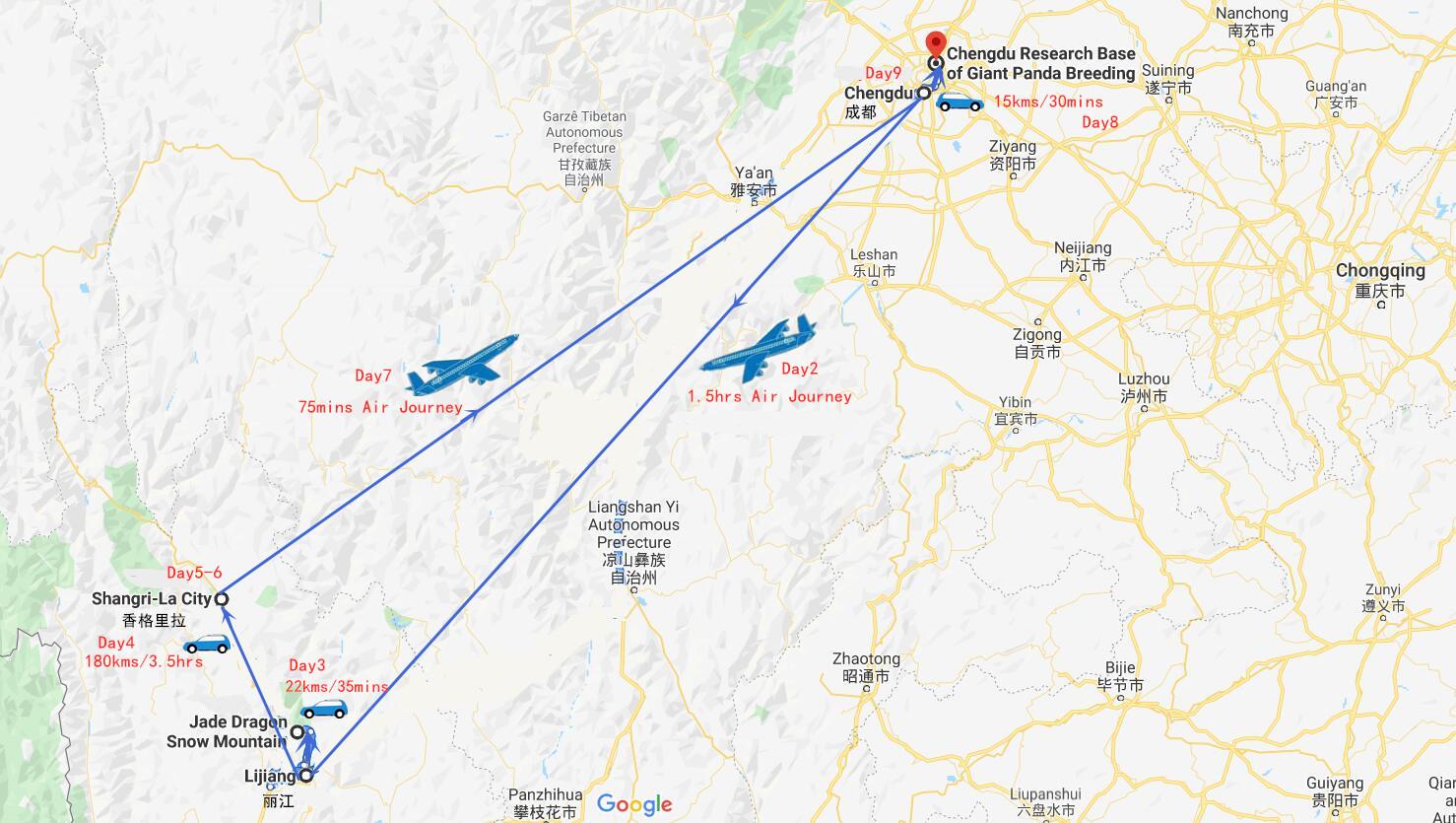 9 Days Chengdu to Lijiang Shangri-La Tour Travel Map