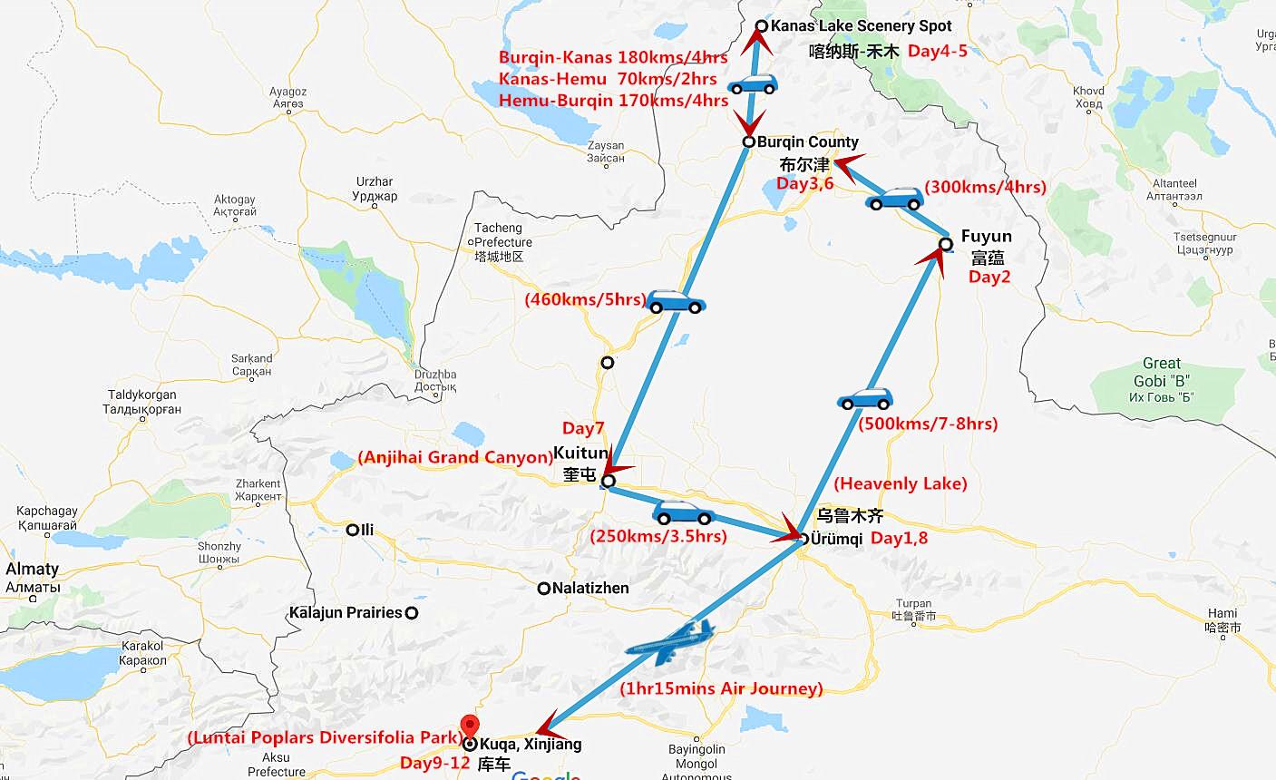 12 Days Xinjiang Travel to Kanas Lake and Taklamakan Desert Kuqa Travel Map