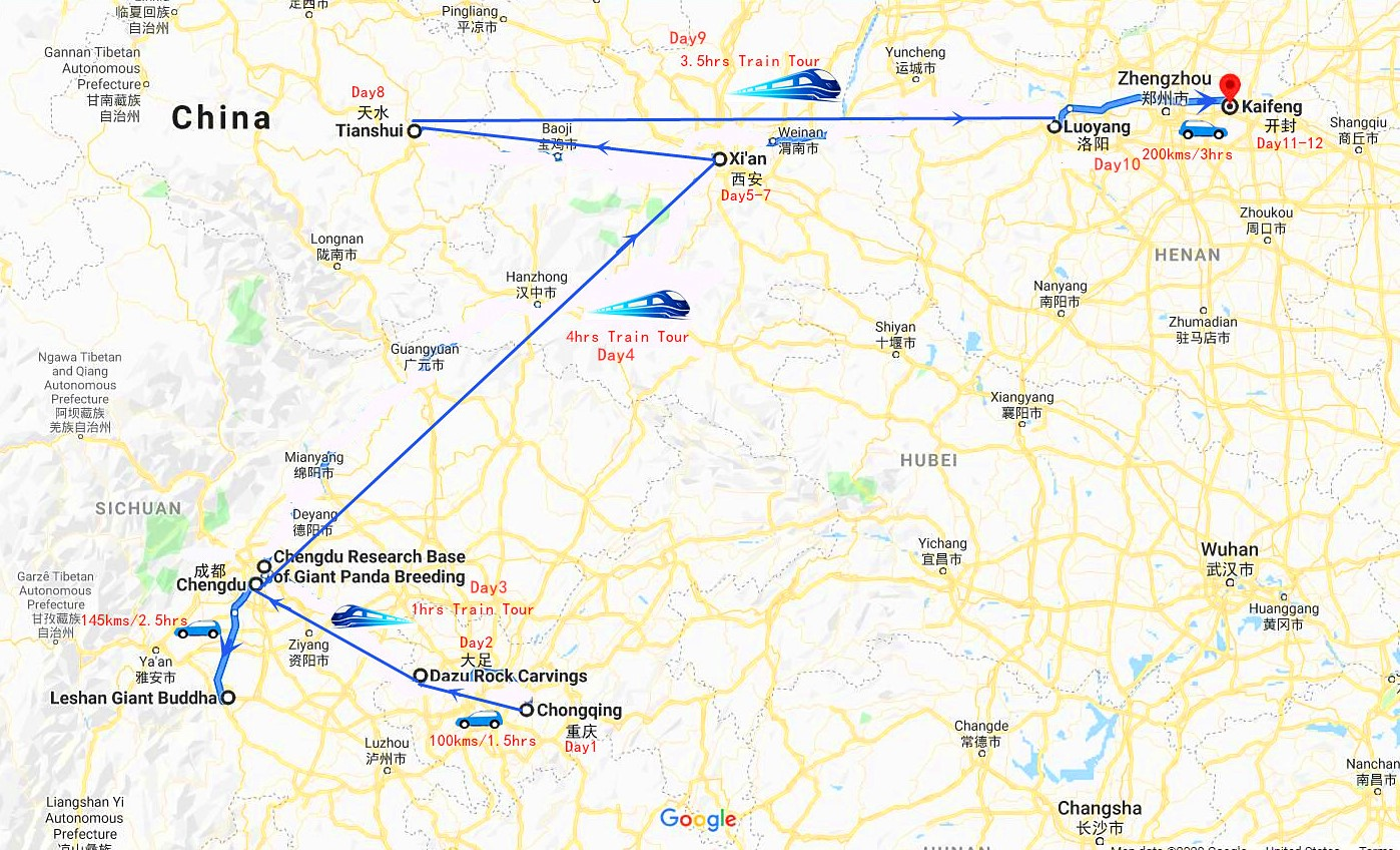 12 Days China Private Tour: Chongqin - Xi'an - Luoyang Travel Map