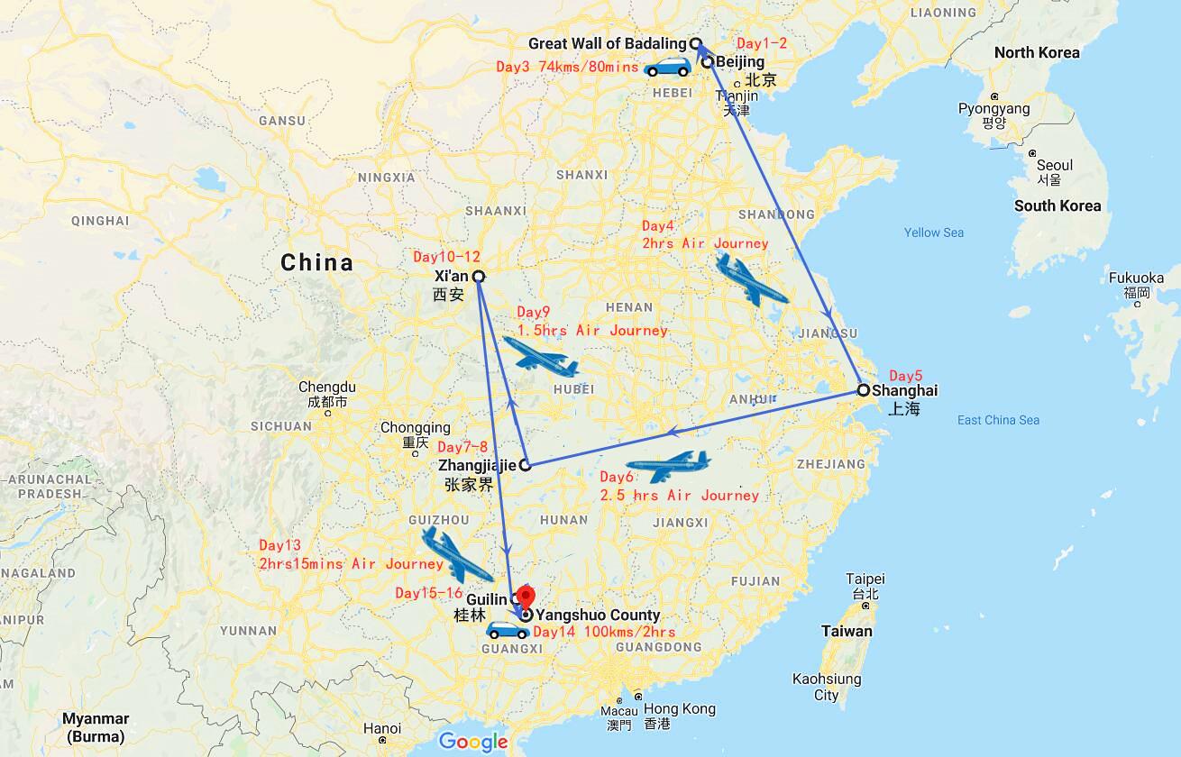 16 Days China Nature Tour Travel Map