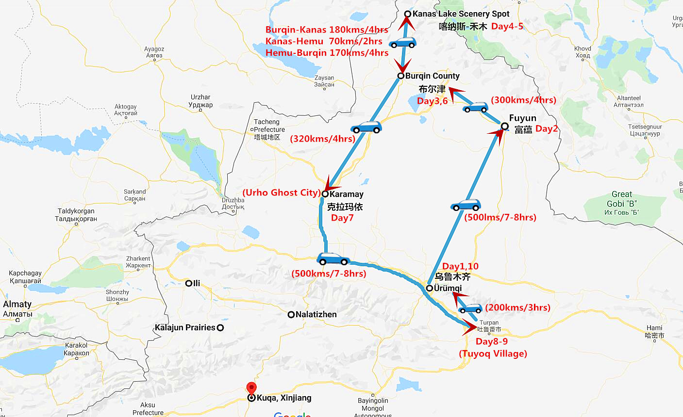 Kanas Lake Tour with Turpan Adventure Travel Map