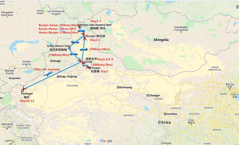 12 Days Xinjiang Private Tour: Kanas Lake and Kashgar Travel Map