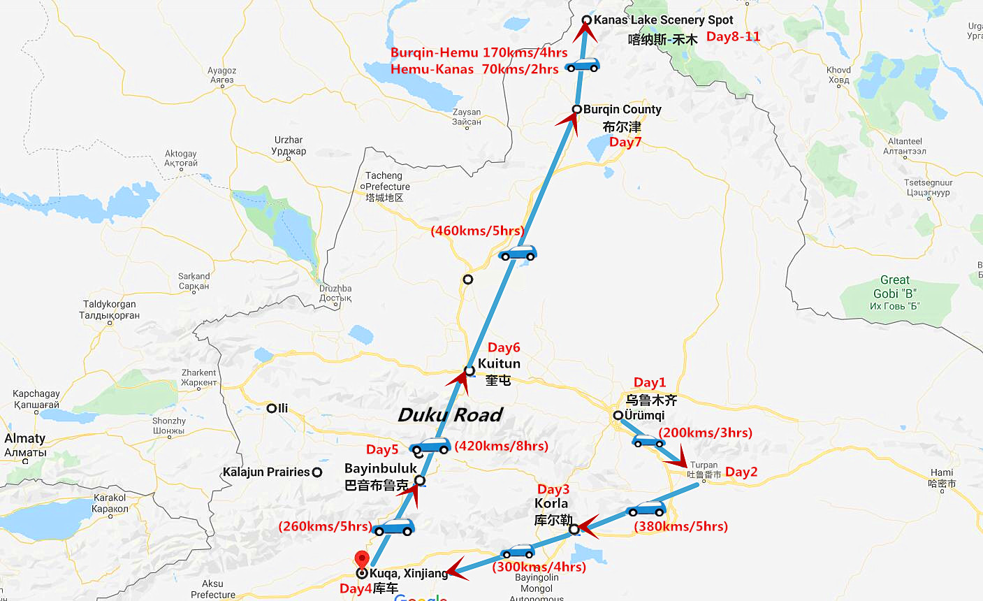 11 Days Northern Xinjiang Tour: Turpan, Bayinbuluk Grassland and Kanas Lake Travel Map