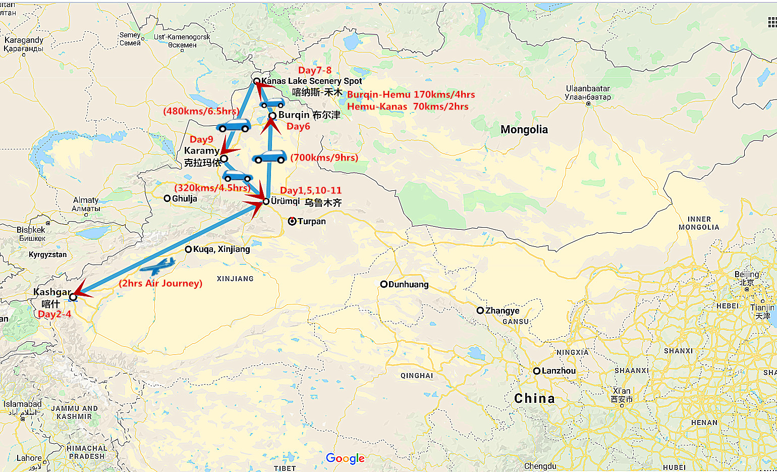 11 Days Best Xinjiang Tour: Kashgar Culture and Kanas Lake Travel Map
