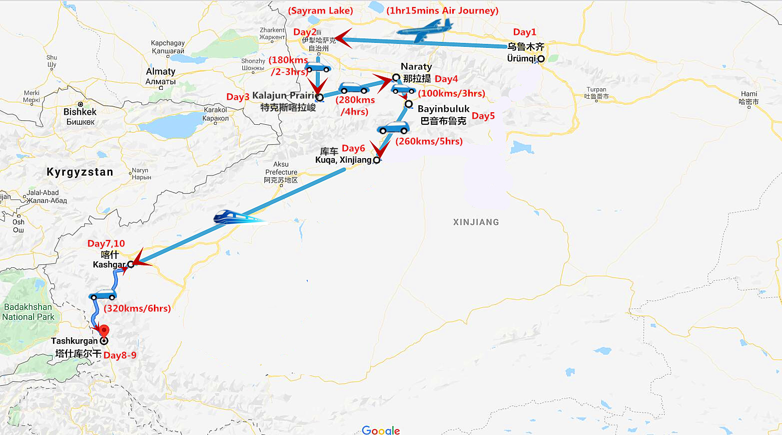 10 Days Xinjiang Tour to Narat Grassland and Kashgar Travel Map