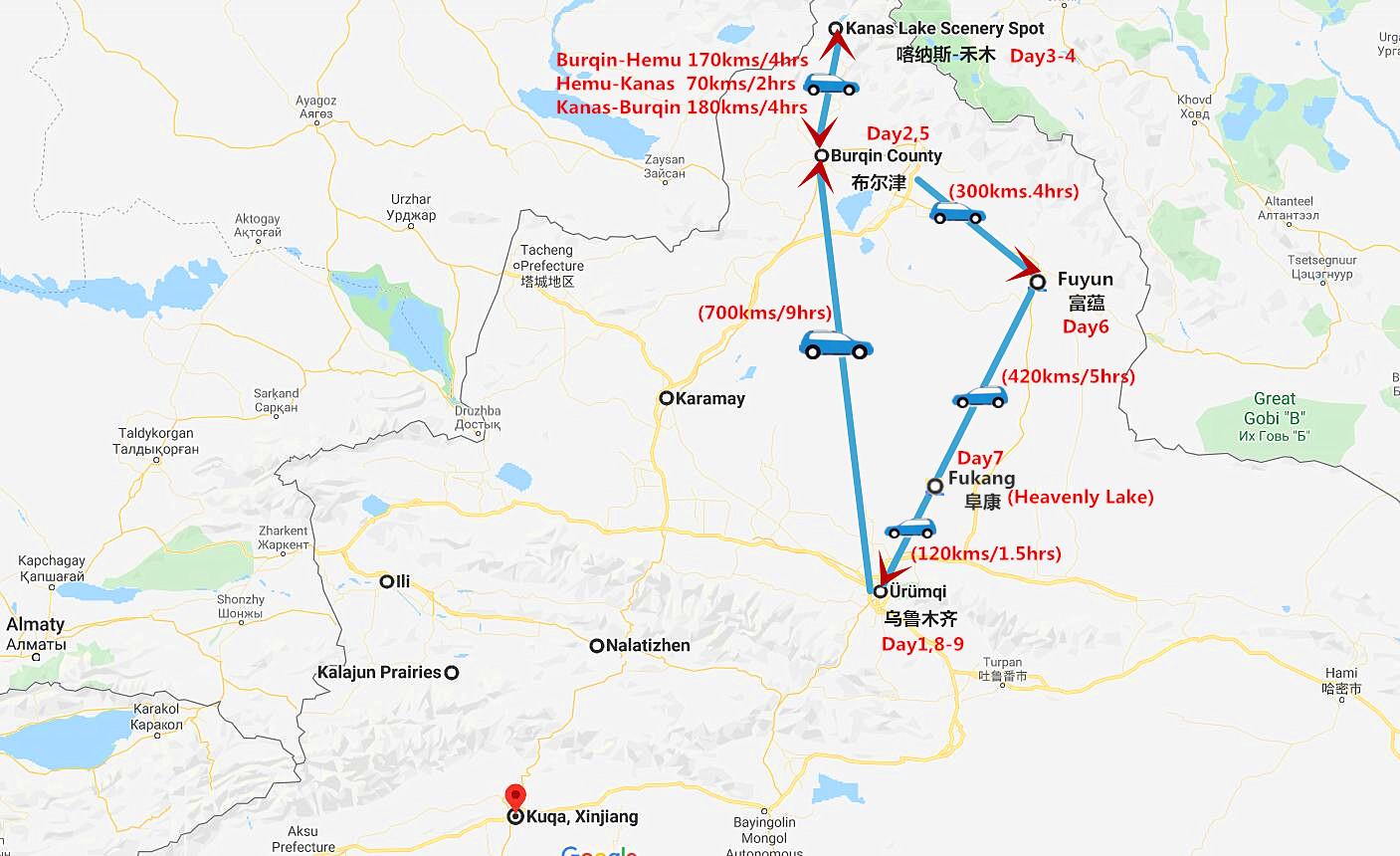 9 Days Urumqi to Kanas Lake Tour Travel Map