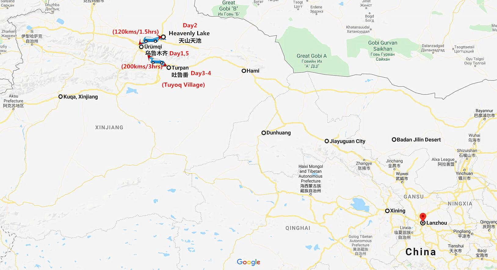 5 Days Xinjiang Winter Tour: Urumqi and Turpan Travel Map