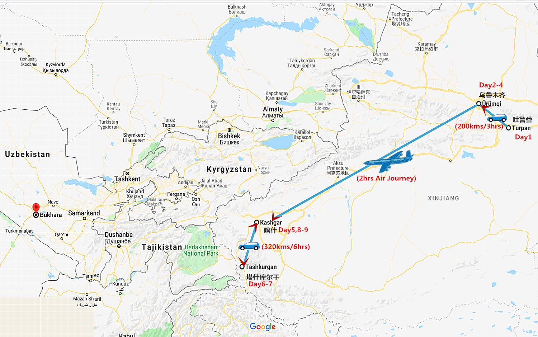 9 Days Xinjiang Silk Road Tour Travel Map