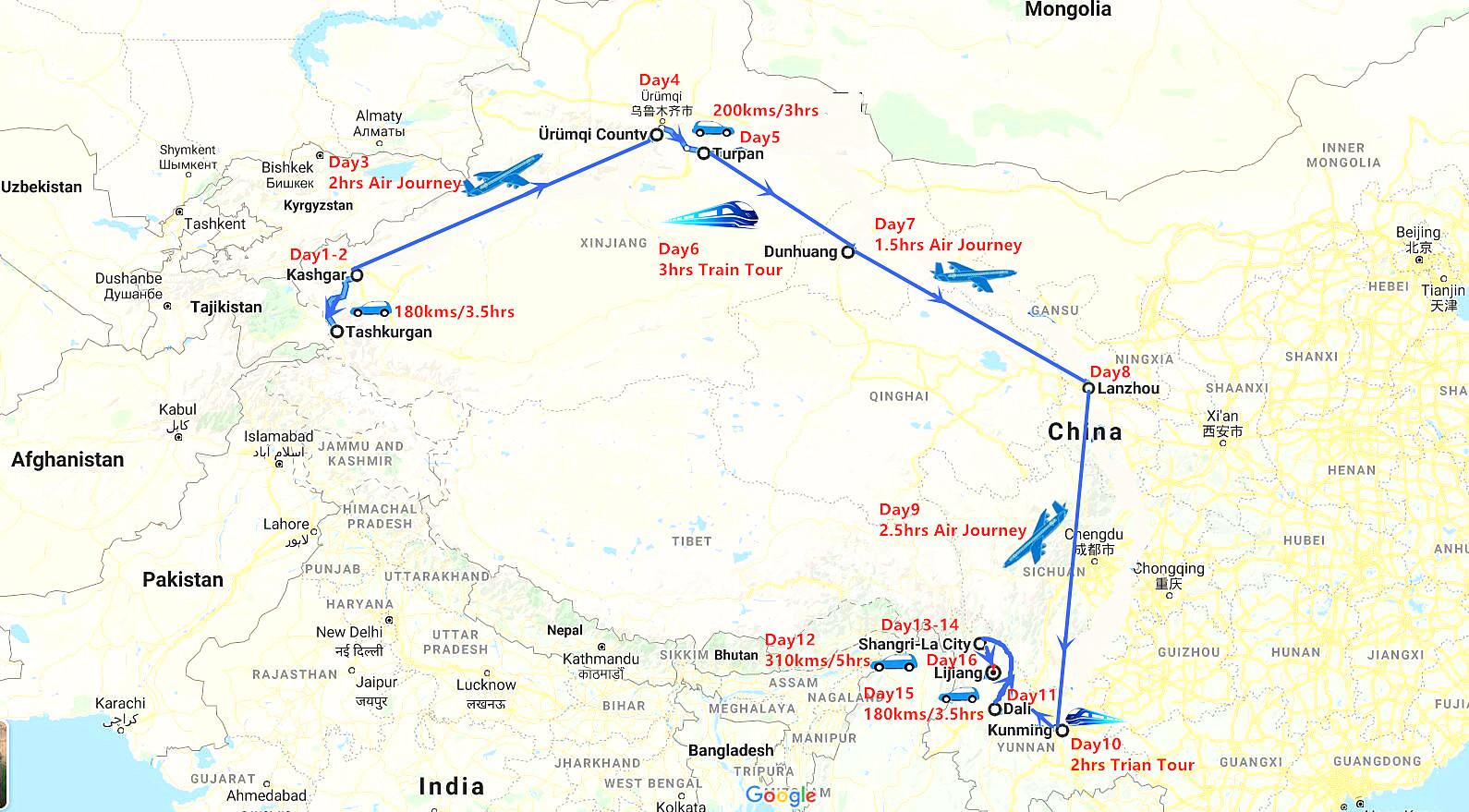 16 Days Silk Road and Yunnan Travel Map