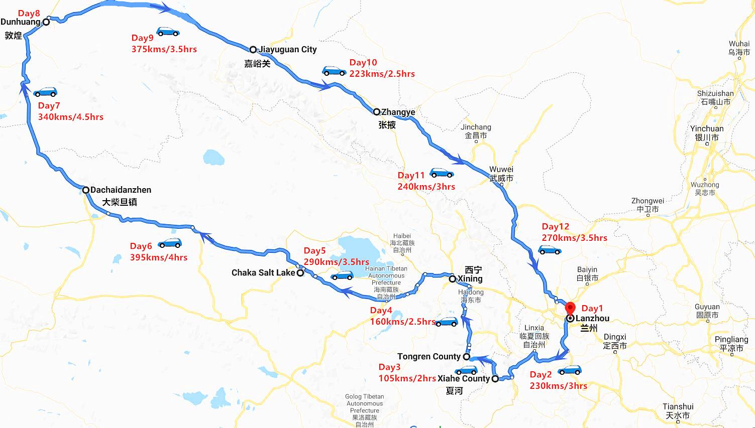 11 Days Qinghai Gansu Tour Travel Map