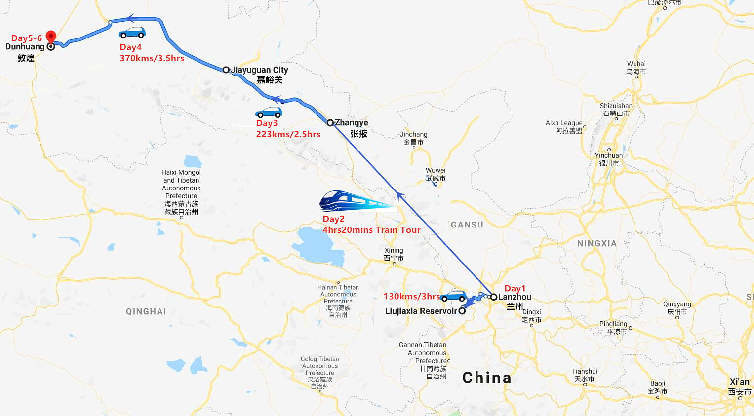 6 Days Lanzhou, Zhangye, Jiayuguan and Dunhuang Tour Travel Map