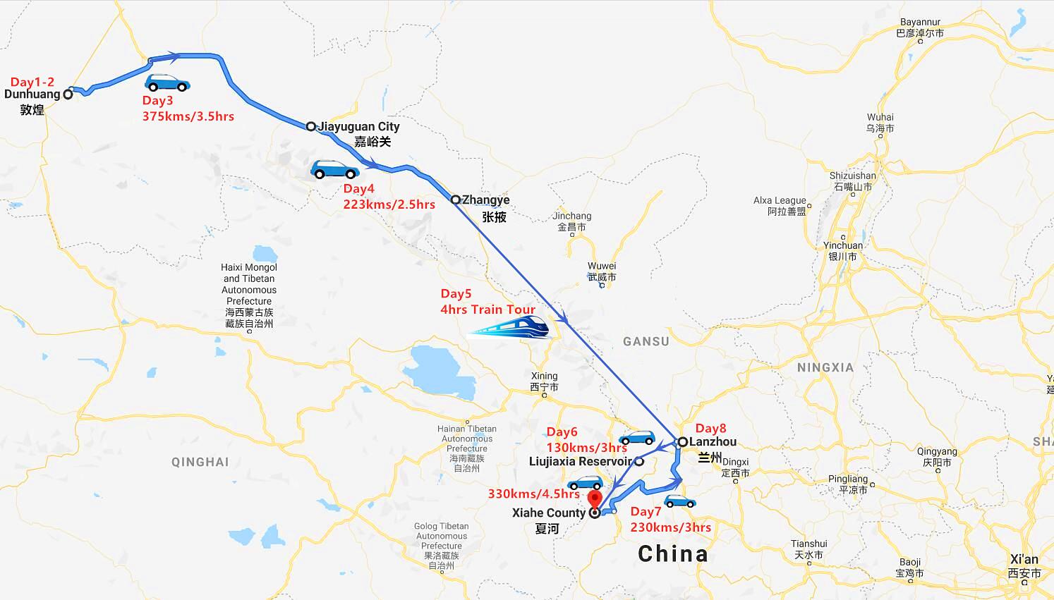 8 Days Dunhuang to Lanzhou Tour Travel Map