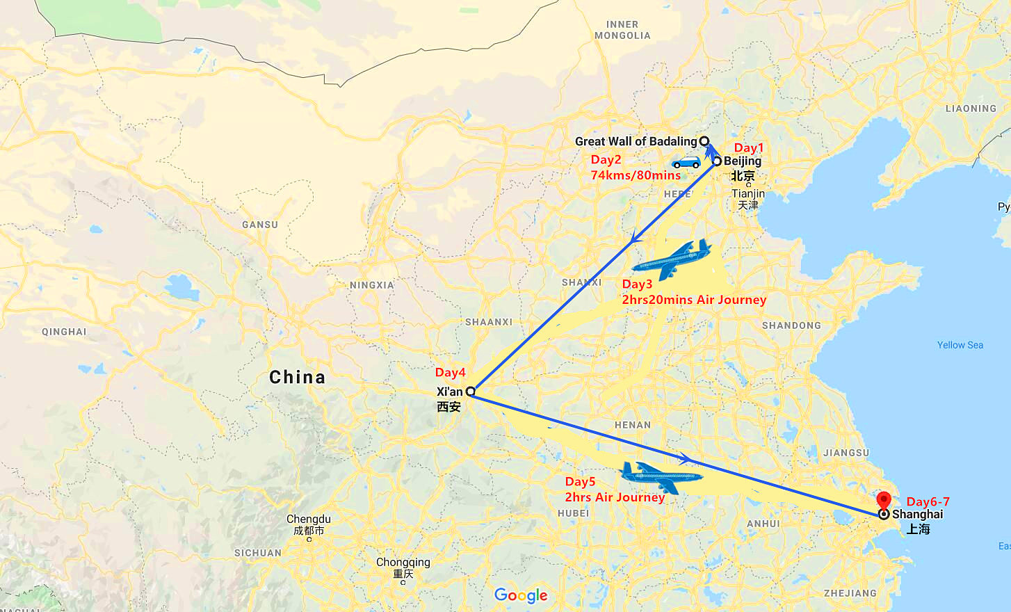 7 Days Beijing - Xi'an and  Shanghai Private Tour Travel Map