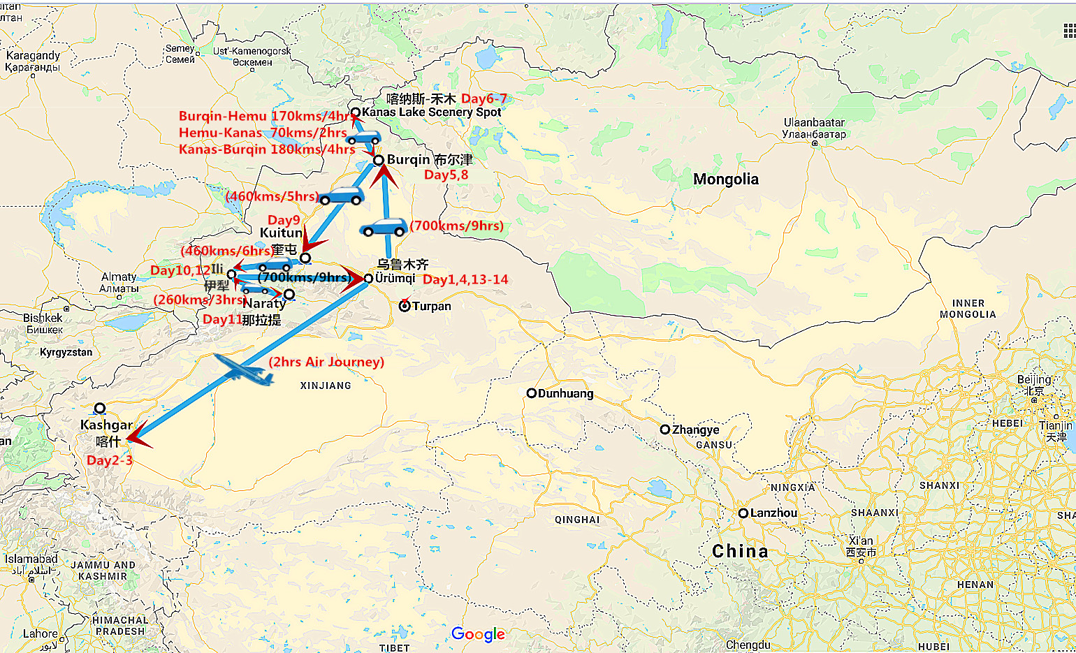 14 Days South and North Xinjiang Tour Travel Map