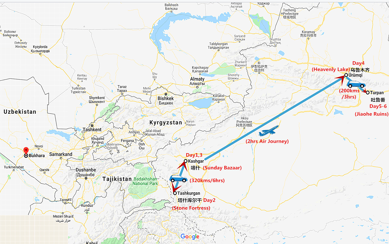 6 Days Xinjiang Tour from Kashgar to Turpan Travel Map