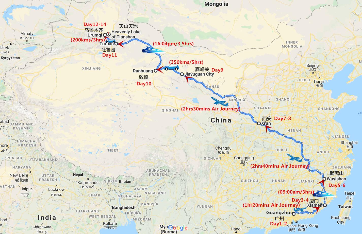 14 Days Fascinating Maritime Silk Road to Xi'an Dunhuang and Xinjiang Travel Map