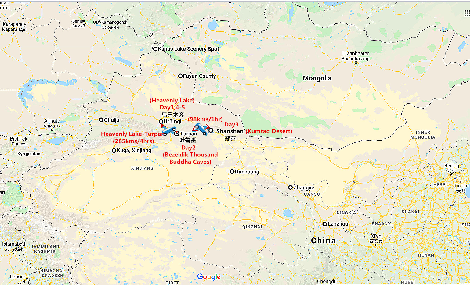 Urumqi and Turpan Classic Tour Travel Map