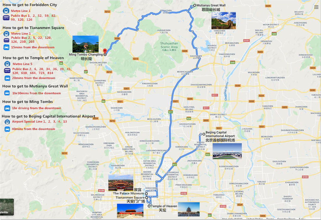 4 Days Great Wall and Forbidden City Tour Travel Map