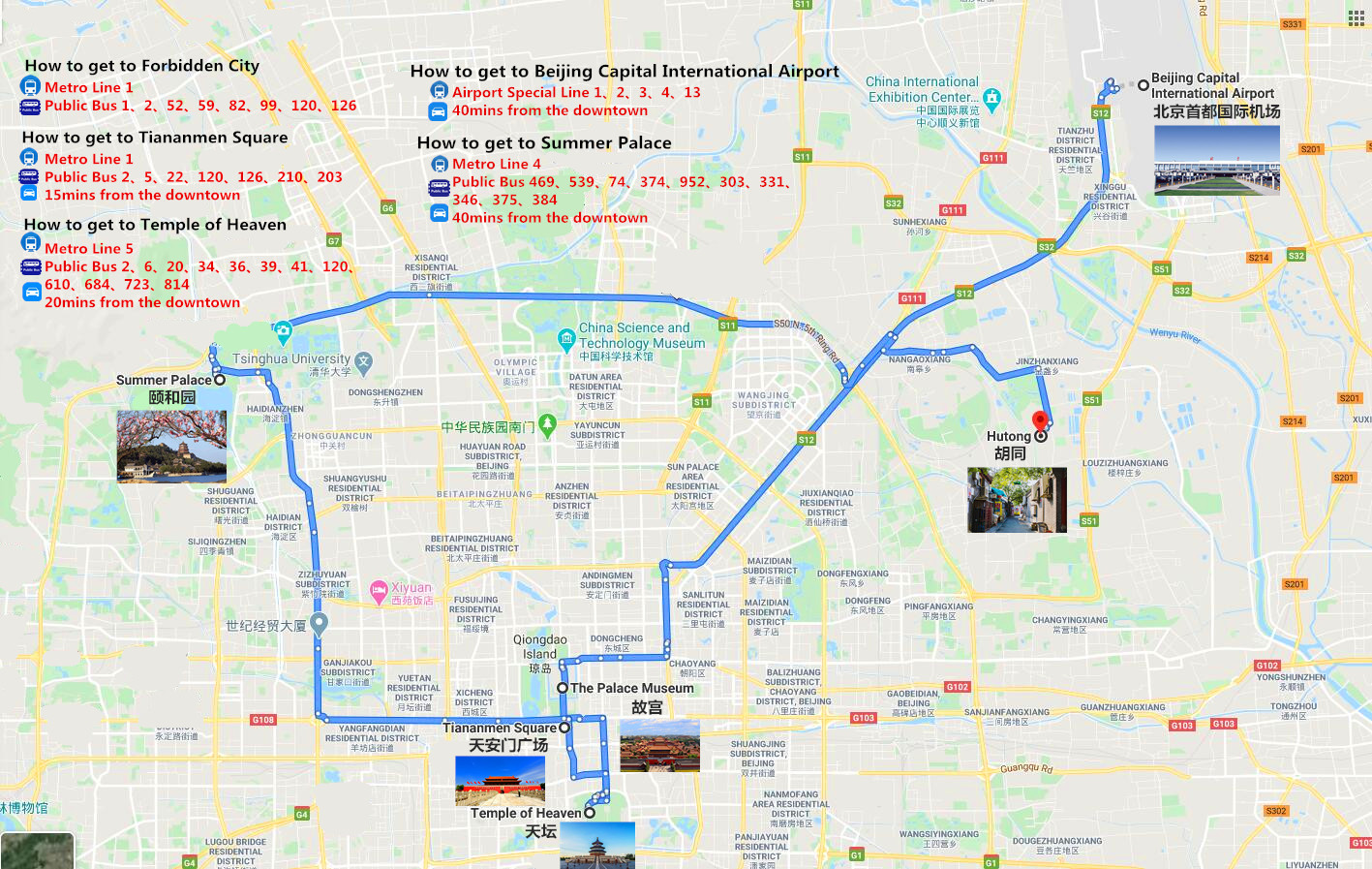 The Heritages & Food Tour of Beijing Travel Map
