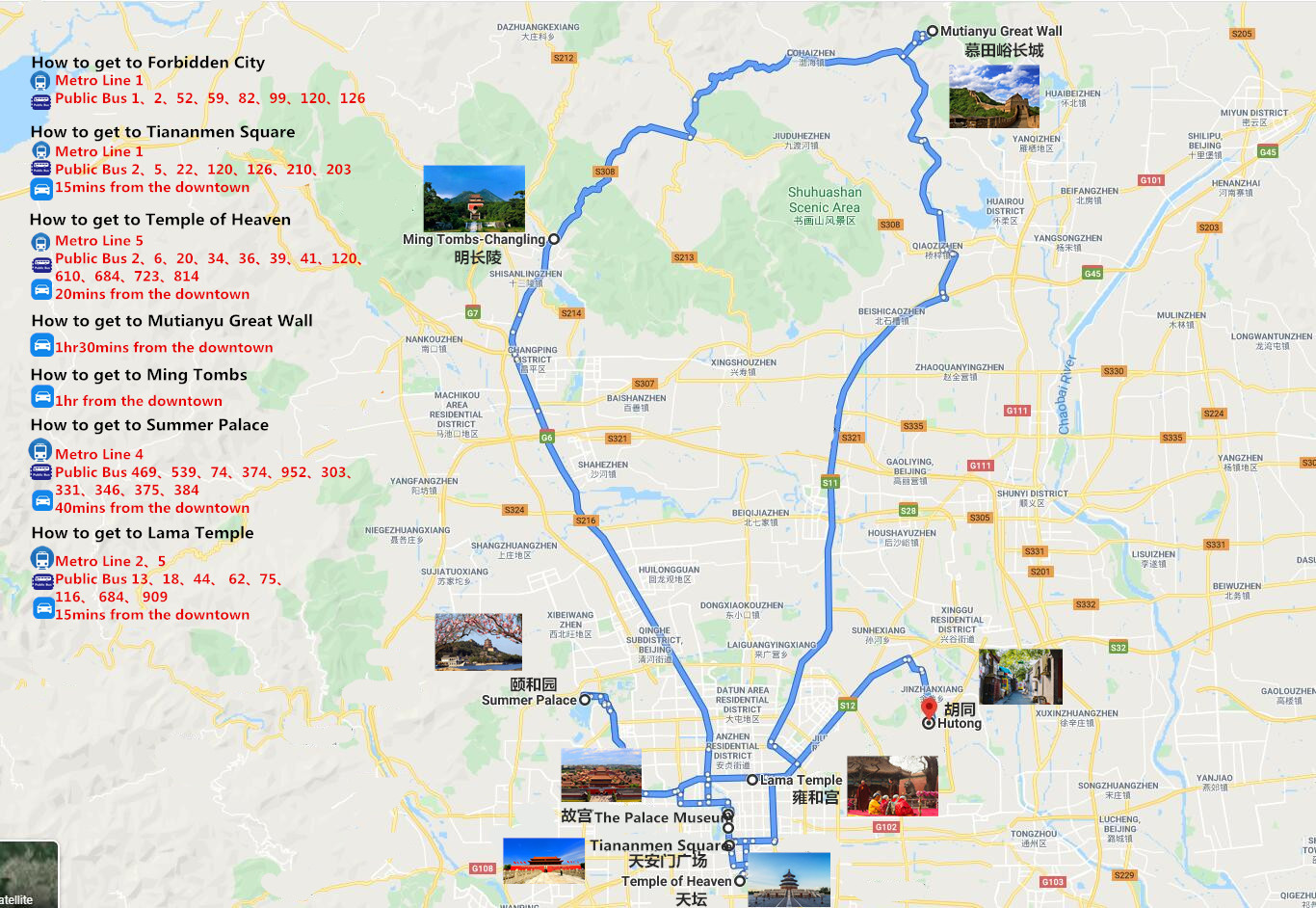 5 Days Beijing Layover Tour Travel Map