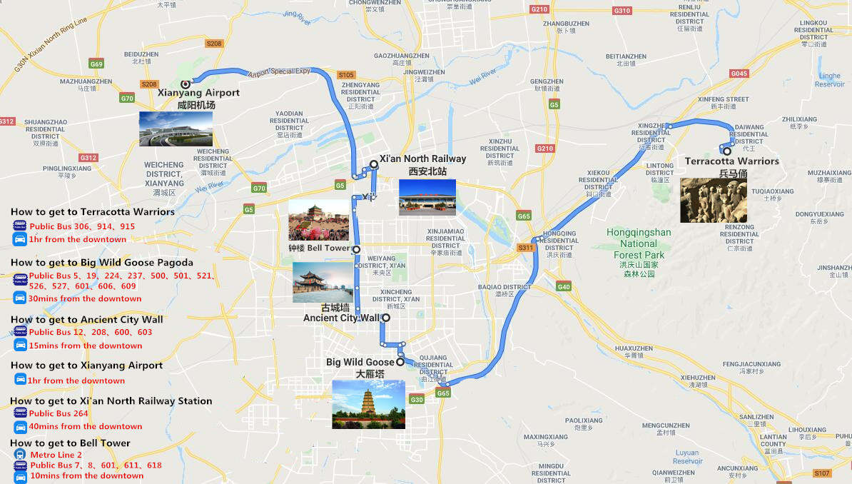 3 Days Terracotta Warriors and Xi'an City Tour Travel Map