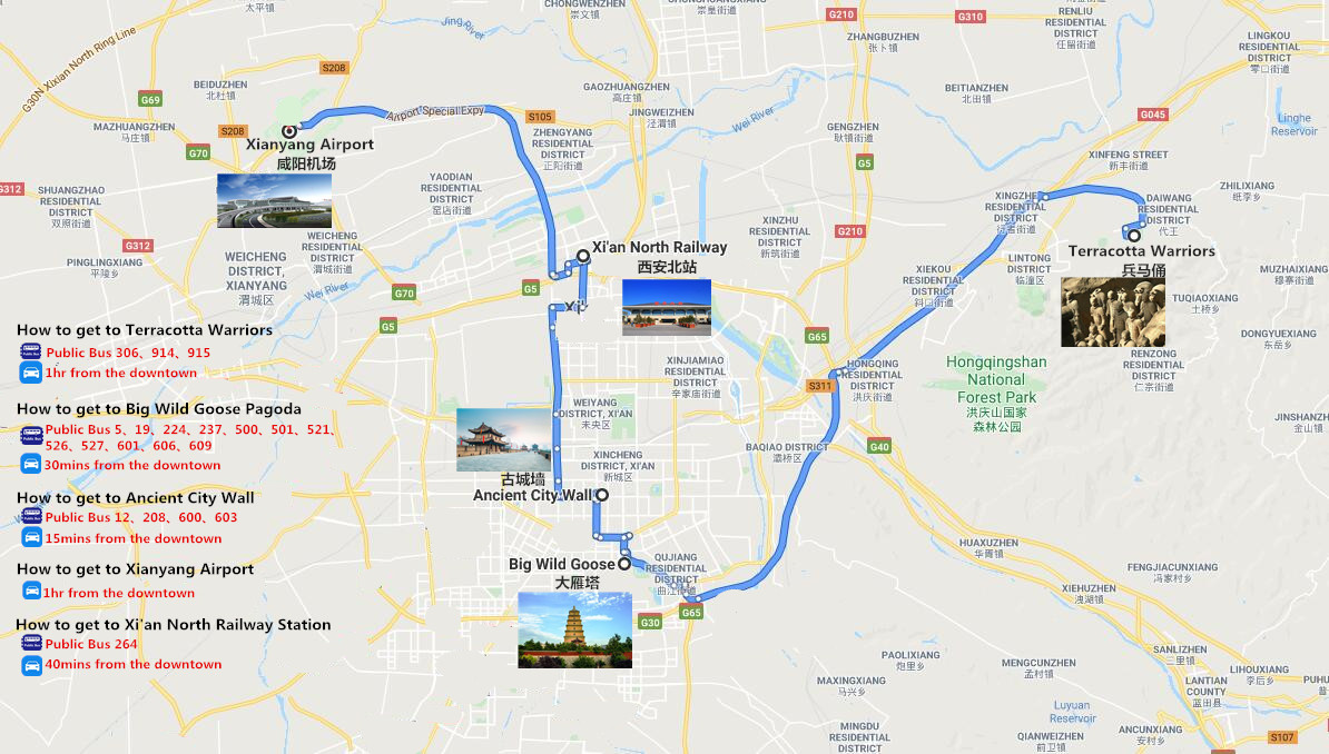 1 Day to Terracotta Warriors Travel Map