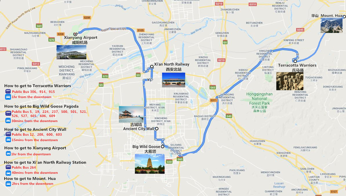 7 Days Xi'an City Tour Travel Map