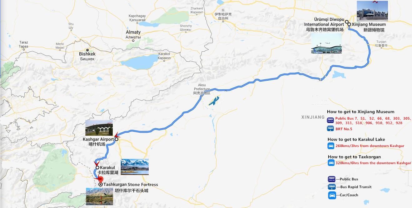 4 Days Kashgar to Pakistan Tour Travel Map