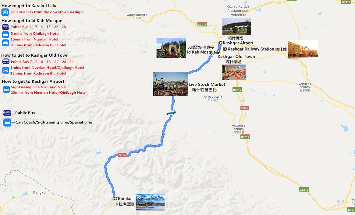 2 Days Kashgar City Tour with Karakul Lake Adventure Travel Map