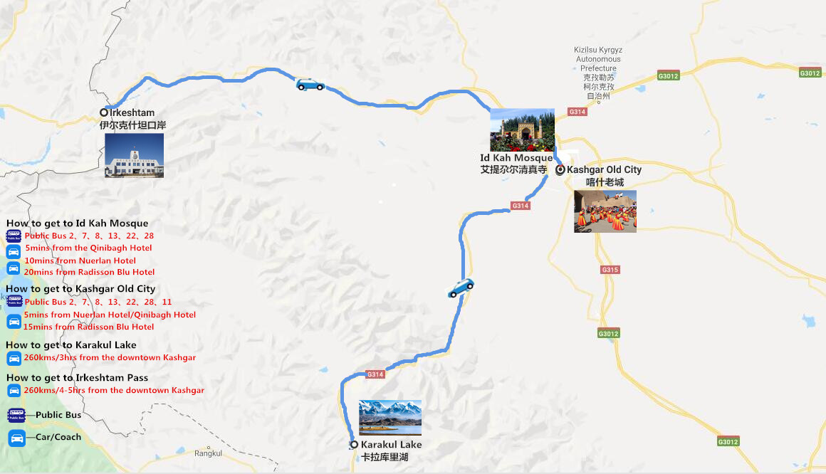 Kashgar to Kyrgyzstan Travel Map