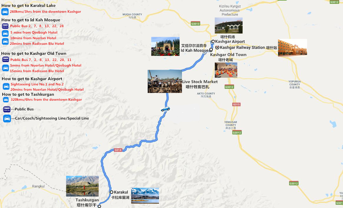 5 Days Kashgar City Tour and Karakul Lake Adventure to Taxkorgan County Travel Map