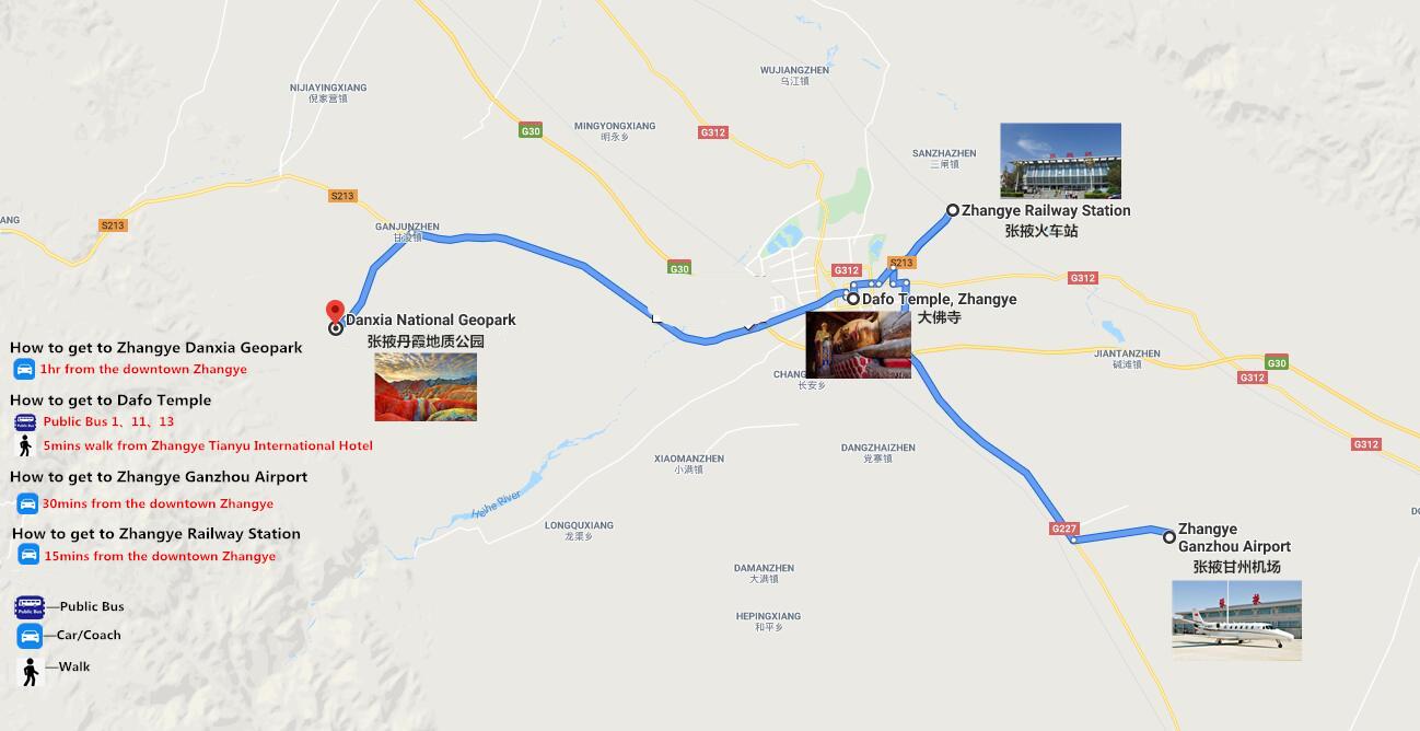 3 Days Zhangye Danxia Landform Tour Travel Map