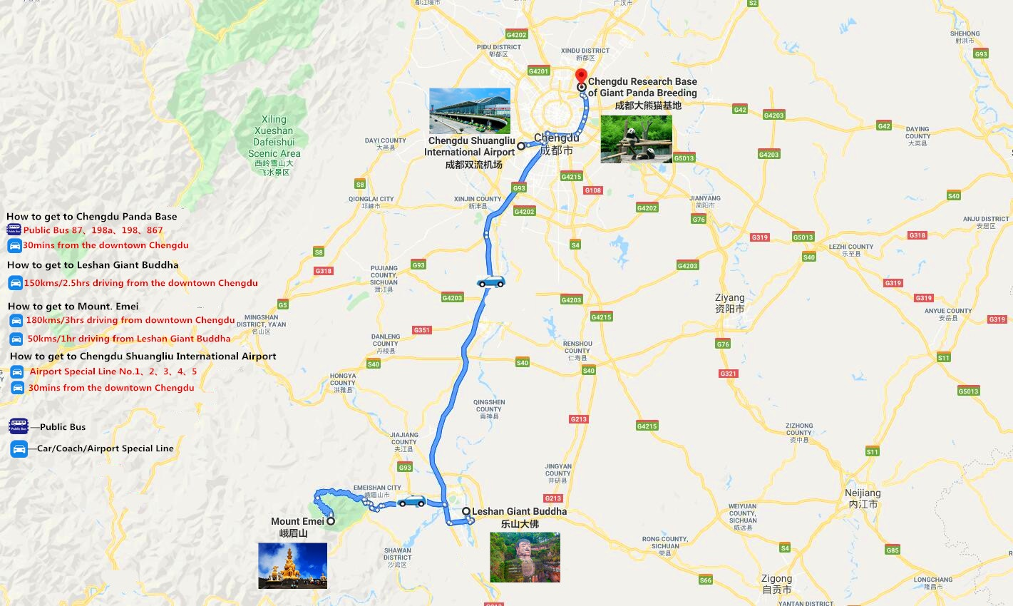 6-Days In-Depth Discovery Around Chengdu Travel Map