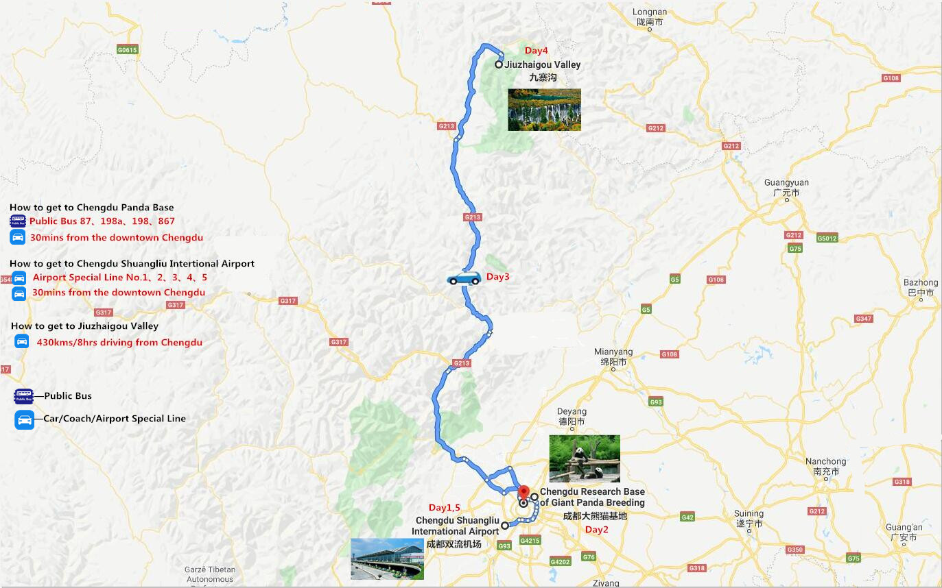 5 Days Chengdu-Jiuzhai Valley Tour Travel Map