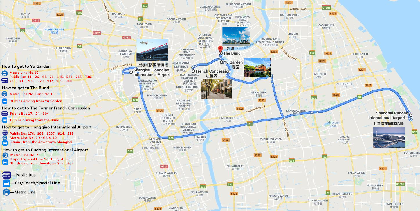 Day Tour in Shanghai Travel Map