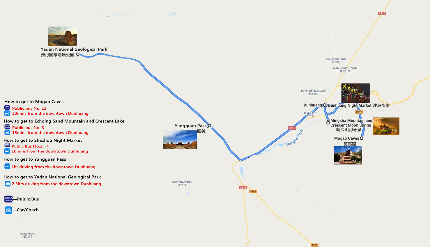 2 Days Dunhuang Tour Travel Map