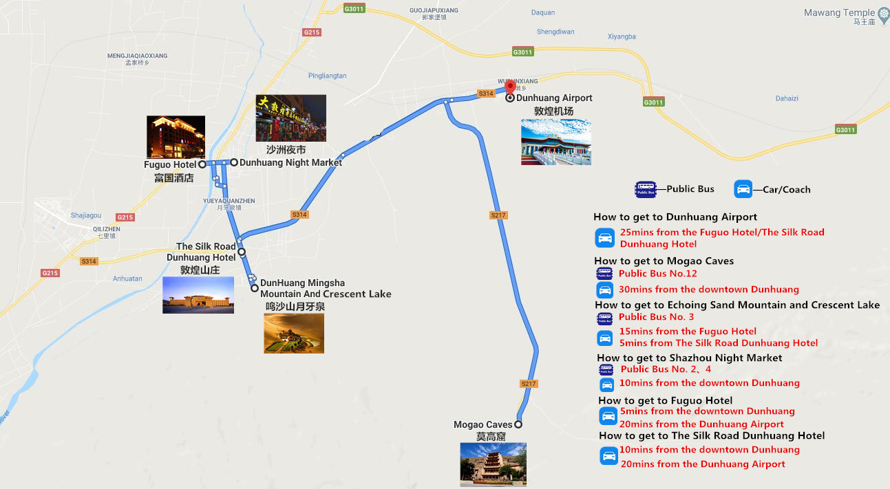 Private Dunhuang Day Tour Travel Map